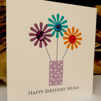 Button Floral Birthday Card- with your own personalised wording