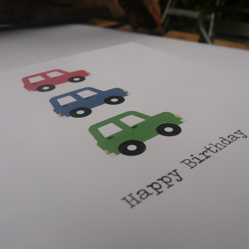 Happy Birthday Car Card - bright colours