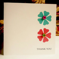 Thank You Card - Flower buttons