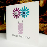 Birthday Card - Flower Vase with buttons
