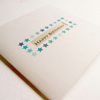 Happy Birthday Card - Blue Stars