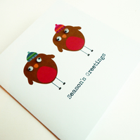 Red Robin With Googly Eyes: Christmas Card Pack Of 6