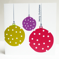 Bright Hanging Baubles: Pack of 6 Christmas Cards