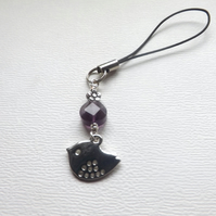Bird Amethyst Flower Mobile Phone Charm