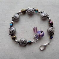 Cat Bracelet with Faceted Glass Beads and Bell