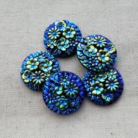 10 Round Blue AB Flower Cabochons 18 mm
