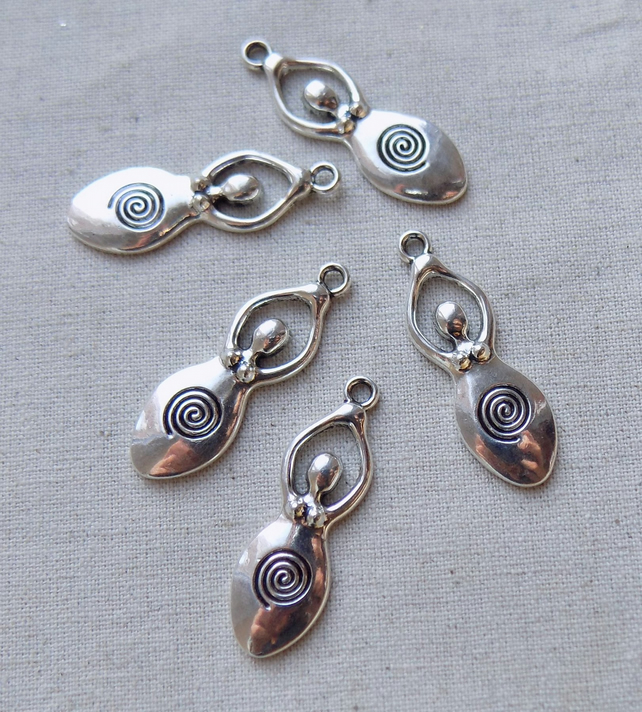 5 Silver tone Fertility Spiral Goddess Charms Pendants Pagan Wicca 39 mm