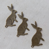 3 Antique Bronze tone Hare Pendants Connectors Charms 43 x 30 mm