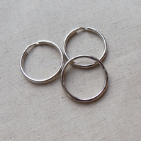 20 Silver tone Key rings split rings 25 mm