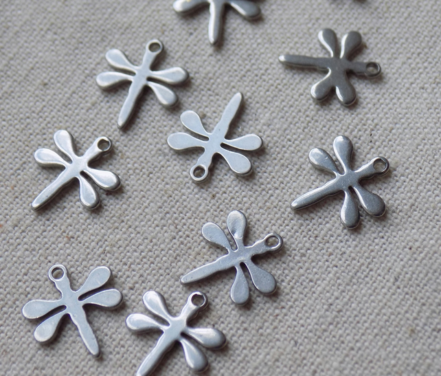 10 Stainless Steel Dragonfly Charms 11  x 10 mm