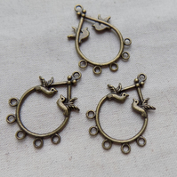 6 Antique Bronze tone Dove Earring Chandeliers Connectors