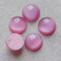 20 Vintage Czech Glass Rose Moonstone Cabochons 11 mm
