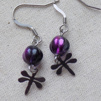 Stainless Steel Dragonfly Earrings