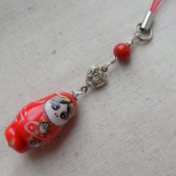 Red Russian Doll Mobile Phone Charm