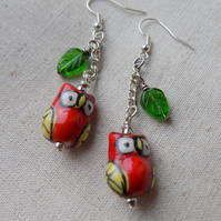 Red Owl and Leaf Earrings