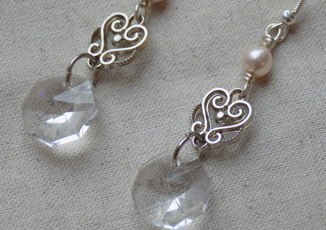 Pearl and Faceted Glass Drop Earrings