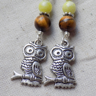 Dangly Owl Earrings with Tigers eye