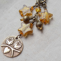 Owl and Amber Star Bag Charm