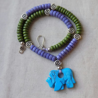 Turquoise Howlite Elephant Necklace