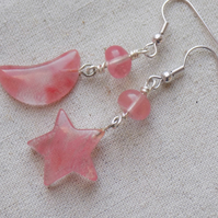 Moon and Star Cherry Quartz Earrings
