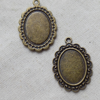 10 Antique Bronze tone Oval Settings  Fits 18 x 13mm