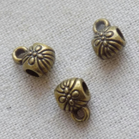 20 Antique Bronze tone Hangers Flower 9 x 6mm