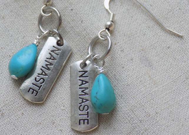 Namaste  Earrings with Turquoise