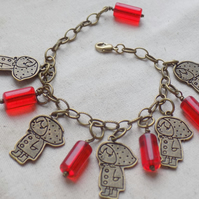 Little Red Riding Hood Bracelet with Red Glass Beads