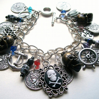 SALE - Pirate Treasure Skull and Crossbones Charm Bracelet