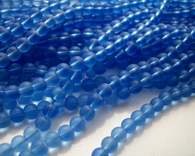 SALE - Blue Round Frosted Glass Beads 6 mm - 2 strands