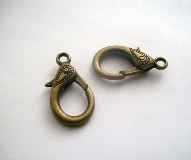 2 Large Antique Bronze tone Lobster Clasps 31 x 16 mm