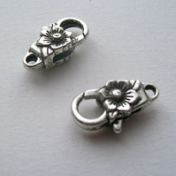 2 Large Silver tone Lobster Clasps 24 x 13 mm