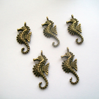 5 Antique Bronze tone Seahorse Charms Pendants 29 mm