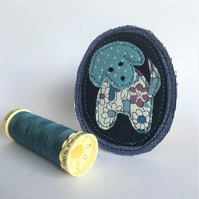 Textile Brooch - Dog - Cheeky Puppy - Teal & Navy