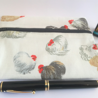 Upcycled cosmetic bag - Chickens