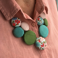 Large Textile statement necklace - pink teal
