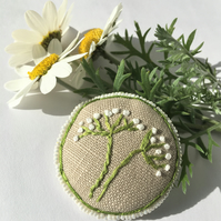 Upcycled embroidered linen floral brooch