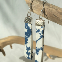Upcycled Linen and sterling silver earrings