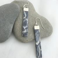 Grey batik and sterling silver upcycled earrings