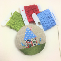 Embroidered Recycled textile brooch - Forget me not Cottage