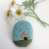 Beehive recycled textile brooch