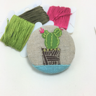 Upcycled embroidered cactus brooch