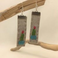 Upcycled linen embroidered cactus earrings