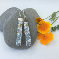 Floral and sterling silver recycled fabric earrings