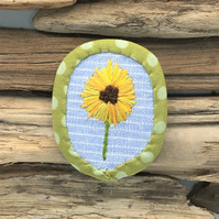 Embroidered sunflower recycled textile brooch