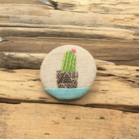 Recycled fabric embroidered cactus brooch