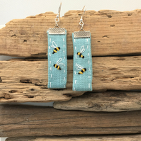 Upcycled linen embroidered bee earrings with sterling silver wires