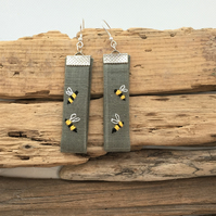 Embroidered bee earrings with sterling silver wires