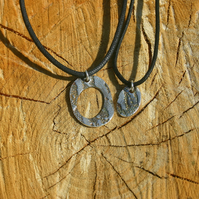Daddy and son fine silver pendants on black cord