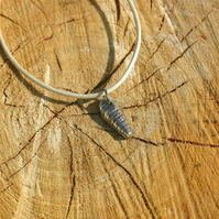 Fine Silver Sea Shell Charm on a leather cord